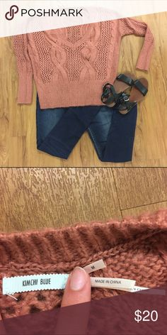 Oversized UO Sweater Kimchi blue size medium oversized sweater. In great used condition. Bought at urban outfitters.  Pair with a bandeau and some dark blue jeans! Make me an offer or bundle for a 20% off discount! Urban Outfitters Tops Sweatshirts & Hoodies