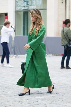 Looking for more Green fashion & street style ideas? Check out my board: Green Street Style by @aureliansupply Street Style // Green Fashion // Spring Outfit 33 Chic Street Style Looks From Paris Fashion Week via @WhoWhatWearUK