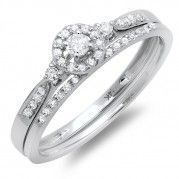 Inexpensive Halo Design Diamond Wedding Set for Her in White Gold $664.99