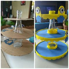 Best 12 cardboard tubes dessert stand Are you kidding me? This is horrificly stupid… sometimes trash is just trash, throw it – SkillOfKing. Minion Birthday, Minion Party, Baby Birthday, Craft Party, Diy Party, Birthday Party Decorations, Diy Home Crafts, Diy Arts And Crafts, Crafts For Kids