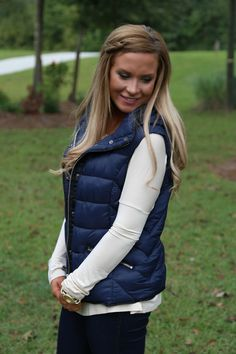 Fireside Kisses Vest: Navy - Off the Racks Boutique