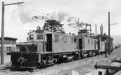 Boxcab electric locomotives, Red River Lumber Co. Westwood California, Electric Locomotive, Close To Home, Red River, Vintage Pictures, Trains, Weapons, Tools, Black And White