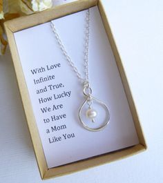 Infinity Pearl Necklace Mother of the Bride Gift