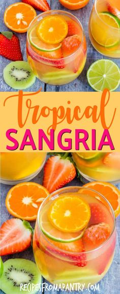 Here is an easy five ingredients tropical sangria recipe made with white wine, pineapple juice, passionfruit juice, dark rum and tropical fruits. #sangria #cocktail #drinks #drinkrecipes #tropical