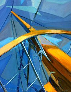 Sailing to Oia, Santorini. Cubist oil painting by Dusan Balara. Santorini Island, Oia Santorini, Before The Fall, Blue Space, Minoan, Pillow Sale, Crete, The Darkest, Sailing