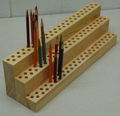 Items similar to Artist's 120 Pencil Holder Organizer TimeSaver on Etsy org. those art supplies Art Supplies Storage, Art Storage, Craft Room Storage, Wood Storage, Craft Rooms, Space Crafts, Arts And Crafts, Wood Projects, Woodworking Projects
