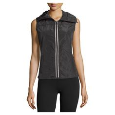 Neiman Marcus Funnel Neck Quilted Tech Vest, Black ($60) ❤ liked on Polyvore featuring outerwear, vests, sleeveless vest, quilted vest, sleeveless waistcoat and vest waistcoat
