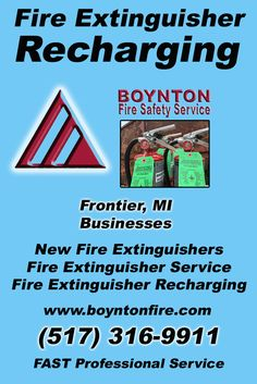 Fire Extinguisher Recharging Frontier, MI (517) 316-9911 Local Michigan Businesses Discover the Complete Fire Protection Source.  We're Boynton Fire Safety Service.. Call us today!