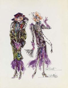 """Carol Burnett A costume design by Bob Mackie for Carol Burnett, felt pen on paper, signed, the design showing Burnett as """"the Old Actress"""" on """"The Carol Burnett Show"""" with period coat and hat over her ragged finery -- 22x17in. (56x43.2cm.)"""