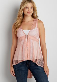 embroidered mesh vest with tie front (original price, $34.00) available at #Maurices