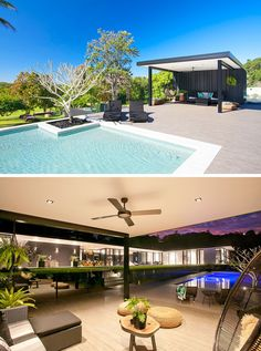 Off to the side of this pool is a cabana that's been furnished with casual and comfortable pieces as well as a hanging chair. At night the cabana is lit up, ideal for outdoor entertaining.