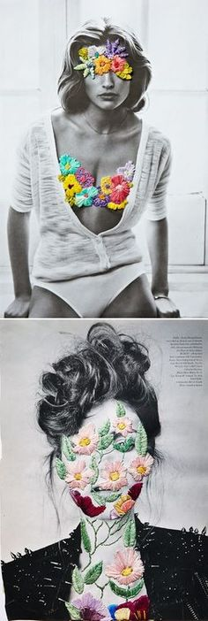 Among collages and embroidery, Jose Romussi merges photographs in black in white with colored lines, bringing a new identity and aesthetic to their work. Jose Romussi, Collages, Art Du Collage, Flower Collage, Photocollage, Textiles, Embroidery Art, Embroidery Fashion, Embroidery Digitizing
