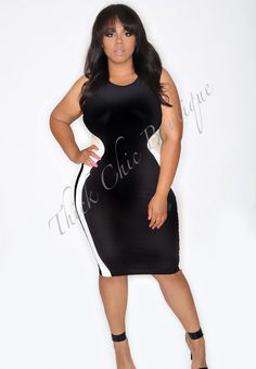 Sleeveless Mesh Trim Body Con Dress, $41.99 by Thick Chic Boutique