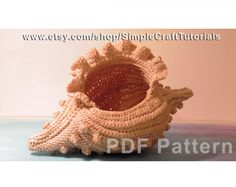 "Crochet Pattern ""Frilled Bobble Shell"" Crochet Basket, Home Decor Ideas, Wedding Decoration, Storage box, pot, container"