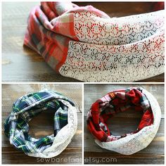 The Barefoot Seamstress - store is OPEN & a COUPON is here!  Plaid + Lace Infinity Scarves for the win!!!