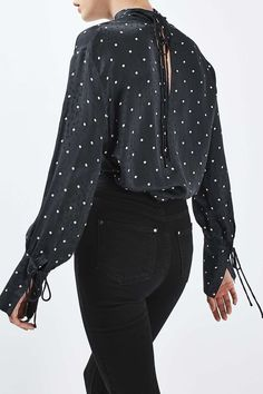 Polka Funnel Blouse by Boutique