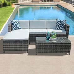 Patiorama Outdoor PE Wicker Rattan Sectional Furniture Set with Cream White Seat and Back Cushions, Blue Throw Pillows, Steel Frame, Gray - Modern Iron Patio Furniture, Sectional Furniture, Outdoor Furniture Sets, Backyard Furniture, Steel Furniture, Cheap Furniture, Pallet Furniture, Sectional Sofa, Wood Patio