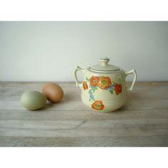 hall pottery orange poppy