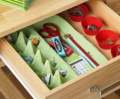 egg carton and cupcake wrappers to organize inside drawers