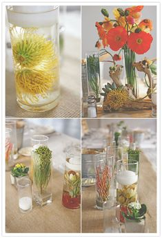 Great centerpieces using natural elements like water and sand compliment the venue/landscape of this Palm Springs wedding wonderfully.    Photo:  Noa of Feather Love