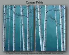 Birch tree painting Canvas print set Large wall by ArtFromDenise
