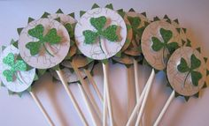 St Patricks Day cupcake toppers  set of 12  by kriskropmemories, $8.75