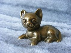 Small Decorative Vintage Brass Cat Statue Figure Ornament Paperweight | eBay