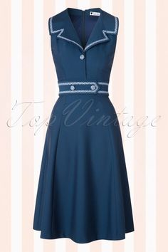 2dad2f17a3215b 50s Emma Swing Dress in Blueberry Blue Check