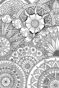 Floral Design Colouring Page