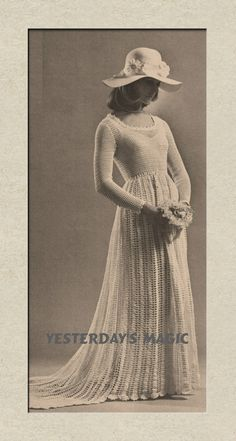 Fairytale Dream Wedding Dress with train a reformatted copy of a Vintage 1970's English Crochet Pattern pdf. $4.00, via Etsy.