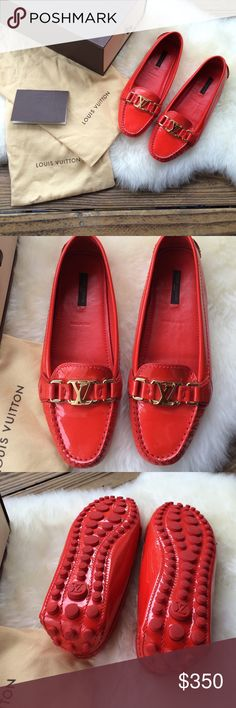 🌀Host Pick🌀 Louis Vuitton Loafers Bright Orange with gold hardware 💯 Authentic LV loafers. Never worn only tried on. Comes with a dust bag, cleaning directions booklet and original box. 🚫not able to bundle Louis Vuitton Shoes Flats & Loafers
