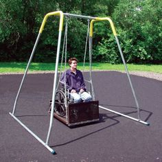 I added this swing because I like that children in wheelchairs would be given the opportunity to swing. Children in wheelchairs can be very limited to activities on the playground. This is great for children in wheelchairs because it is large enough for a wheelchair and close to the ground. It would work great on any playground.