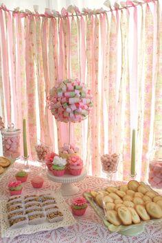 Pretty ribbon backdrop behind this little girl's tea party dessert table. Party Kulissen, Tea Party Theme, Tea Party Birthday, Party Time, Party Plan, Ideas Party, Shabby Chic Birthday Party Ideas, Geek Birthday, Baby Birthday