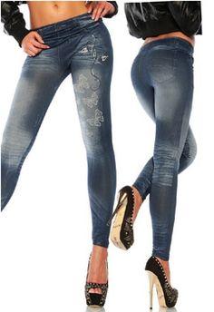 Mulheres Jeans 2014 de Moda de Nova Borboleta Impresso Leggings Skinny Bolso Falso Legging Calça Casual DD8020