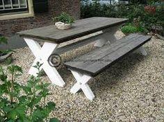 Afbeeldingsresultaat voor picknicktafel steigerhout