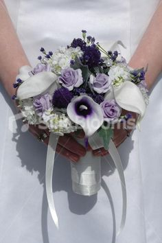 Small Scottish Bridal Bouquet w/ Picasso Lilies and Thistles