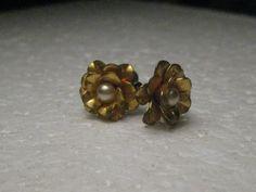 Vintage Sterling Silver Floral Stud Screw Back Earrings, Pearl Center, 1950's #Unbranded