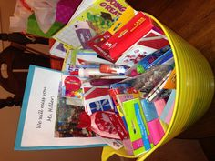 Idea for student teacher leaving class. Collect school supplies & gift cards for her to put in a basket. Then present to her on the last day. Make a book where the kids each create one page (at home). Send home page with sentence (Ex. Ms. ____ is great because ______!)