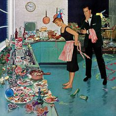 New After Party Clean-up by Ben Kimberly Prins Painting Print on Wrapped Canvas by Marmont Hill. Wall Art Decor from top store Images Vintage, Photo Vintage, Vintage Ads, Vintage Prints, Painting Prints, Canvas Prints, Paintings, Canvas Art, Vintage Housewife