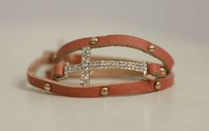 Brown Leather Cross Wrap Bracelet from Southern Jewelry Auctions on Facebook!