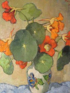❀ Blooming Brushwork ❀ - garden and still life flower paintings - Conrad Theys-Nasturtium Art And Illustration, Illustrations, Art Floral, Watercolor Flowers, Watercolor Art, Still Life Flowers, Still Life Art, Botanical Art, Love Art
