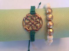 Macrame bracelet with beaded bracelet set/stackable. $14.95, via Etsy.