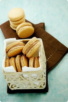 Spiced Chai Latte and Salted Caramel Macarons @Loni Smith these look amazing! lol maybe you can whip these up!