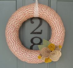 Yarn Wreath Felt Handmade Door Decoration Tan and Red by ItzFitz