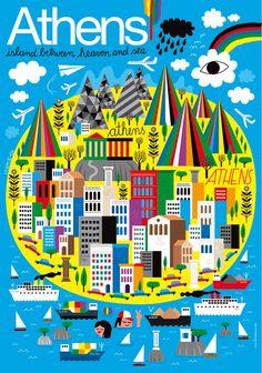 Athens map illustration Poster - www.humanempire.com