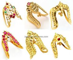 Six beautiful designs of 22 caart Gold Vanki ring by Totaram jewellers.Vangi or Kanganam or kai Kaapu is commonly used t Gold Ring Designs, Gold Earrings Designs, Necklace Designs, Vanki Designs Jewellery, Gold Jewellery Design, Gold Jewelry Simple, Gold Rings Jewelry, Jewelry Necklaces, Vanki Ring
