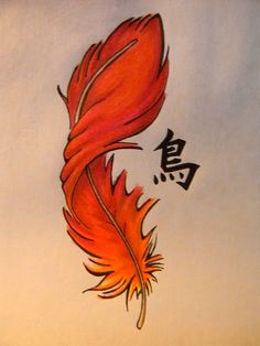 Phoenix Feather Tattoo by ~Hiitaru on deviantART. I just love how the feather is drawn Phoenix Feather Tattoos, Feather Tattoo Design, Tattoo Phoenix, Pheonix Feather, Body Art Tattoos, New Tattoos, Tatoos, Arrow Tattoos, Different Lettering
