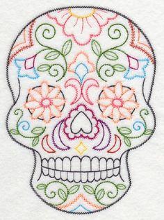 2  Sugar Skulls colorful design  fabric sewing quilt blocks squares