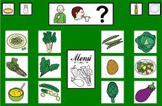 """""""Tablero de comunicación: Verduras"""". Recopilación de  diferentes tableros de comunicación de 12 casillas, organizados por necesidades básicas y centros de interés.  Los tableros pueden imprimirse tal como aparecen en los documentos o bien se puede modificar el contenido, la forma, el color, etc., para adaptarlos a las características individuales de cada usuario. Pueden utilizarse también para trabajar distintos repertorios de vocabulario agrupado por temas o categorías."""