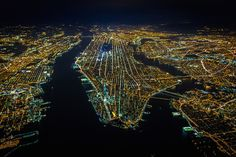 Brilliant Night Photographs of New York City at Night Captured From 7,500 Feet Up